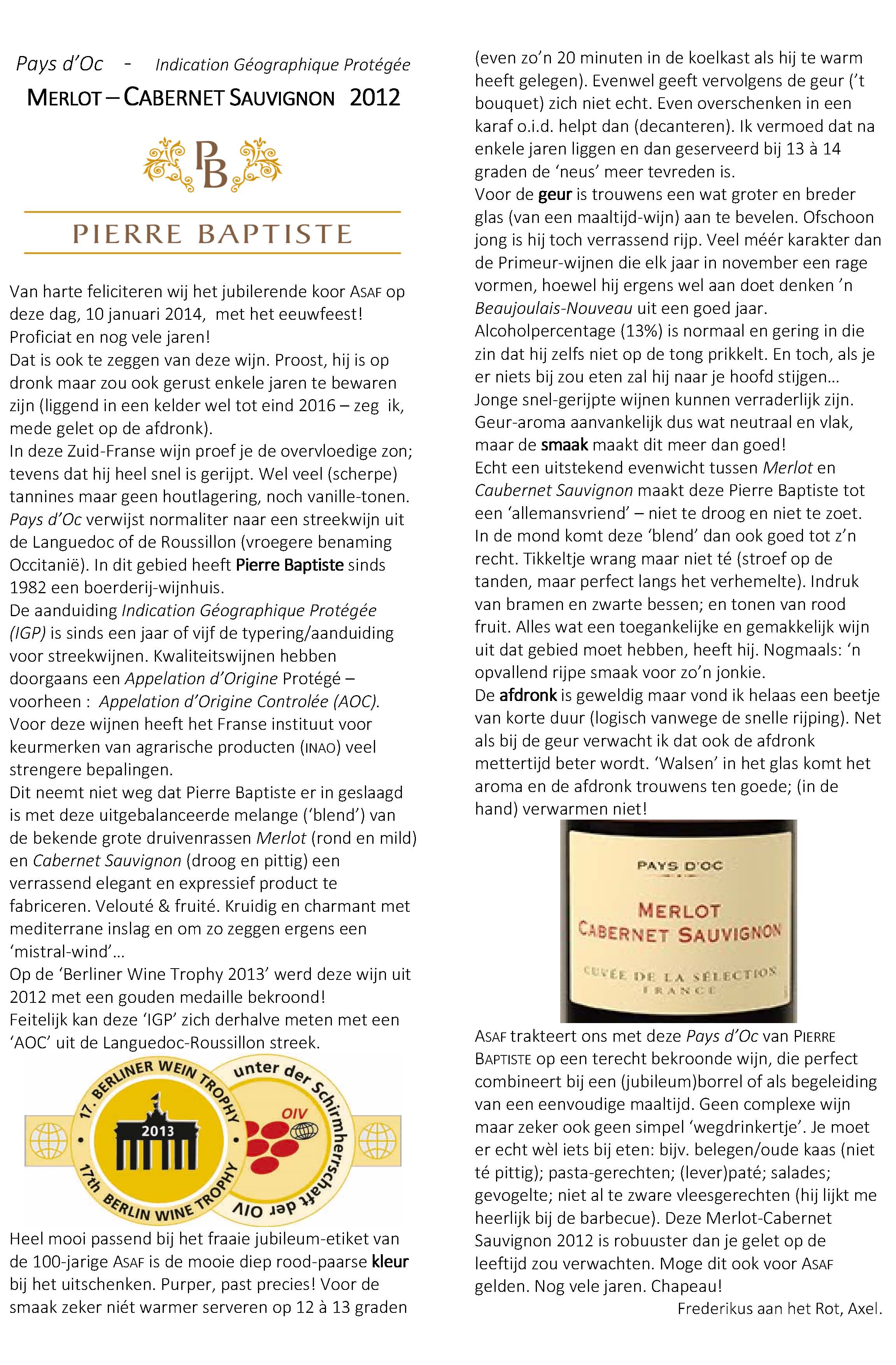 Asaf jubileum wijn proefrapport